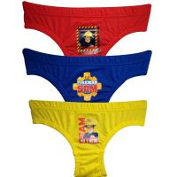 Boys Fireman Sam 3 Pack Pants / Briefs